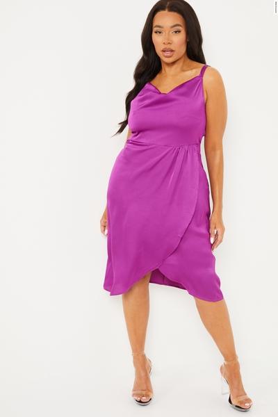 Curve Purple Satin Strappy Midi Dress